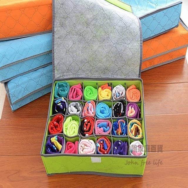 24格彩色有蓋竹炭收納盒 內褲收納盒 襪子收納盒 隨機出貨 換季收納