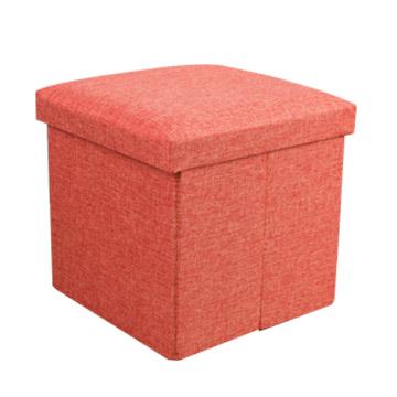 耐重簡約麻布收納椅38cm(橘色)