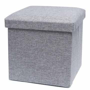 耐重簡約麻布收納椅31cm(灰色)