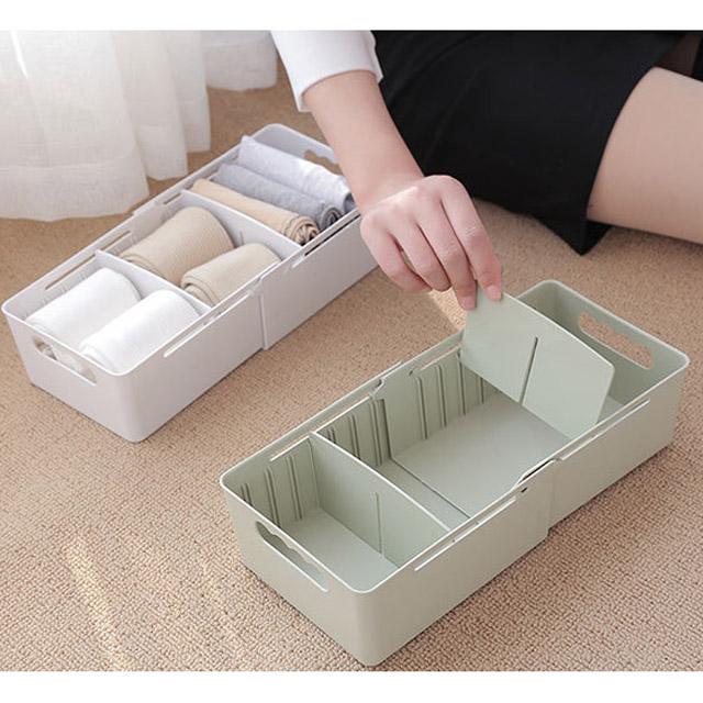 可伸縮抽屜分隔收納整理盒 2入組-北歐綠(贈多功能集線無痕雙面貼)