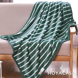 《HOYACASA綠色》法蘭絨四季包邊毯