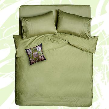 義大利La Belle前衛素雅加大四件式被套床包組-芥末綠