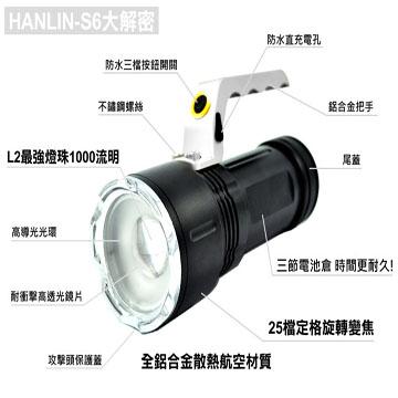 【HANLIN-S6】L2強光手提探照燈-巡邏/夜遊/露營/釣魚