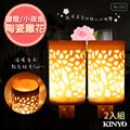 2入組【KINYO】陶瓷雕花鹽燈小夜燈壁燈(NL-223)開運玫瑰鹽