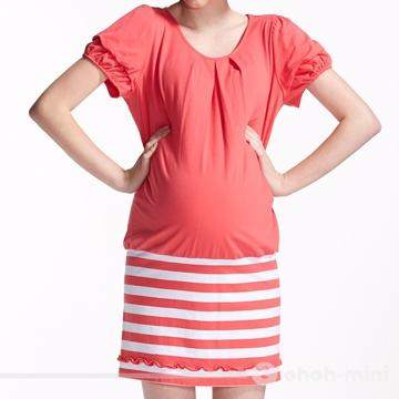 【ohoh-mini 孕婦裝】熱情活力拼接圓領條紋孕婦洋裝
