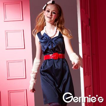 Gennie's奇妮緞面蝴蝶結拼接秋冬孕婦背心洋裝(藍G2Y12)