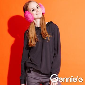 Gennie's奇妮燙銀連帽造型秋冬孕婦上衣-鐵灰(G3Y06)