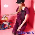Gennie's奇妮 禮服風格褶飾蝴蝶結孕婦洋裝(G1Y06)
