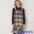 Gennie's奇妮  經典格紋吊帶平口秋冬孕婦背心洋裝-綠格(G2W19)