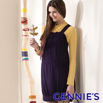 Gennie's奇妮可愛小花苞褶飾綁帶孕婦背心洋裝-紫(G2401)