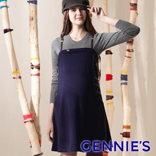 Gennie's奇妮俐落率性吊帶秋冬孕婦背心洋裝(紫G2406)