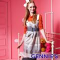 Gennie's奇妮 輕時尚格紋秋冬孕婦背心洋裝-灰藍(G2Y02)