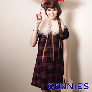 Gennies奇妮 格紋拼接羊毛短袖洋裝(紫紅/藍/白G1407)