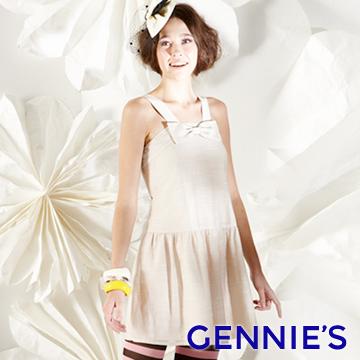 Gennie's奇妮可愛蝴蝶結孕婦背心洋裝(G1128)