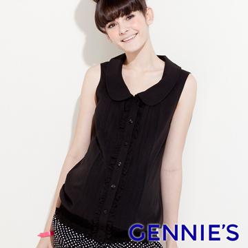 Gennie's奇妮輕量寬版雪紡氣質褶飾孕婦背心上衣-灰(G3321)