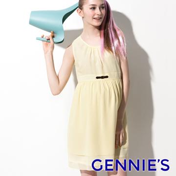 Gennie's奇妮 輕甜少女雪紡春夏孕婦洋裝-黃(G1511)
