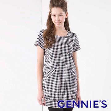 Gennie's奇妮個性服飾格紋春夏孕婦哺乳洋裝-細灰格紋(GNA11)