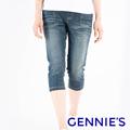 Gennies奇妮 經典刷色一體成型牛仔五分褲-藍(T4F65)