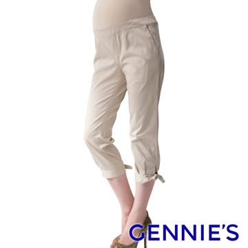 Gennie's奇妮 簡約蝴蝶結綁帶造型春夏孕婦七分褲-卡其(G4V82)