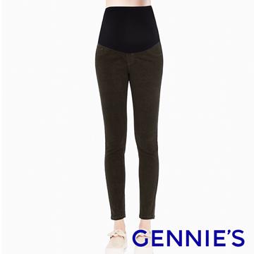 Gennies奇妮 輕車線素色長褲-墨綠(T4E15)