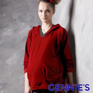 Gennies奇妮 010系列-簡約寬鬆連帽孕婦上衣-紅(T3222)