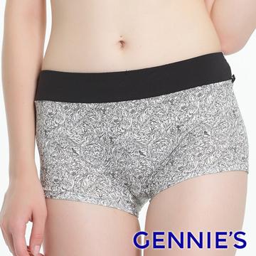 Gennie's奇妮 環保染印花中腰平口孕婦內褲-迷漾黑(GB58)