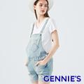Gennies奇妮 美式復古刷破牛仔吊帶短褲-淺牛仔藍/深牛仔藍(TJD01)