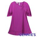 Gennie's奇妮 褶飾斜V領層次春夏孕婦上衣-紫紅(H3108)
