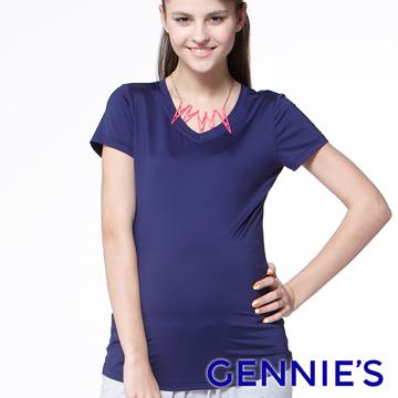 Gennie's奇妮 小V領舒爽涼感紗春夏孕婦上衣-紫(G3703)
