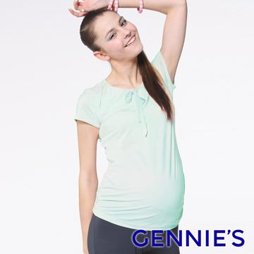 Gennie's奇妮 蝴蝶結綁帶舒爽涼感紗春夏孕婦上衣-綠(G3704)