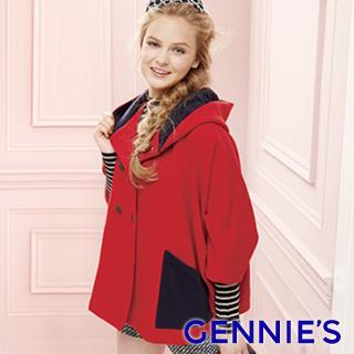 Gennies奇妮-時尚七分袖斗篷連帽外套(紅)H6808