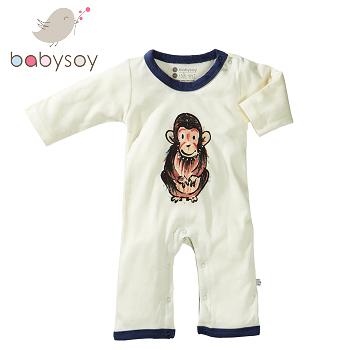 美國[Babysoy ] Janey Baby有機棉長袖連身衣611-猩猩