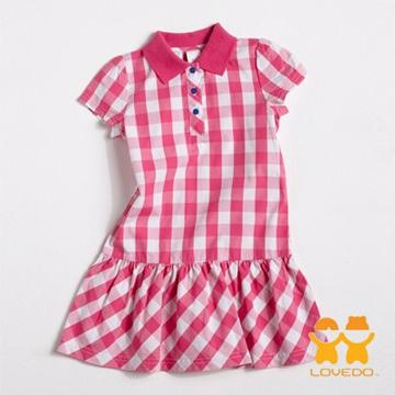 【LOVEDO艾唯多】亮麗色彩 格紋小洋裝(白粉)