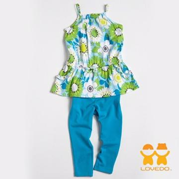 【LOVEDO艾唯多】繽紛亮麗花朵 兩件組套裝(藍)