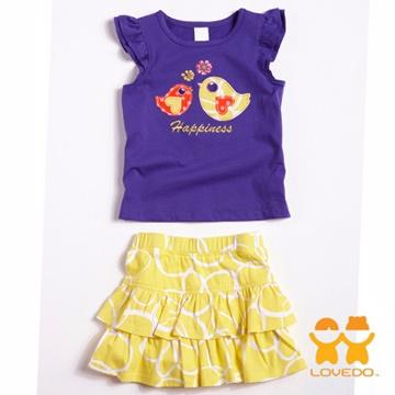 【LOVEDO艾唯多】快樂繽紛小鳥 兩件組套裝(藍紫)