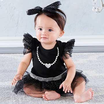 Baby Aspen BAS 黑色小公主網紗包屁洋裝髮帶套裝2件彌月禮盒組 BA16095BK
