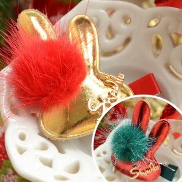 UNICO 韓版 兒童聖誕毛球球兔兔造型髮夾