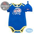 Disney Baby 雲朵米奇包屁衣附彈性帽 - 寶藍