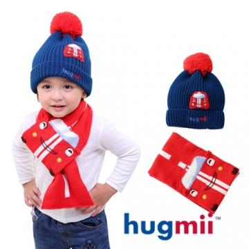 【hugmii】兒童單色毛球帽及圍巾組_賽車