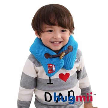 【hugmii】兒童單色牛角扣保暖脖圍_藍賽車