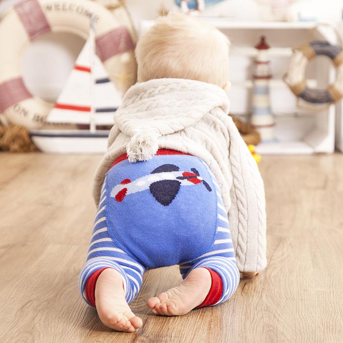 英國 JoJo Maman BeBe 圖案嬰幼兒內搭褲/保暖襪_天空藍飛機(JJP005)