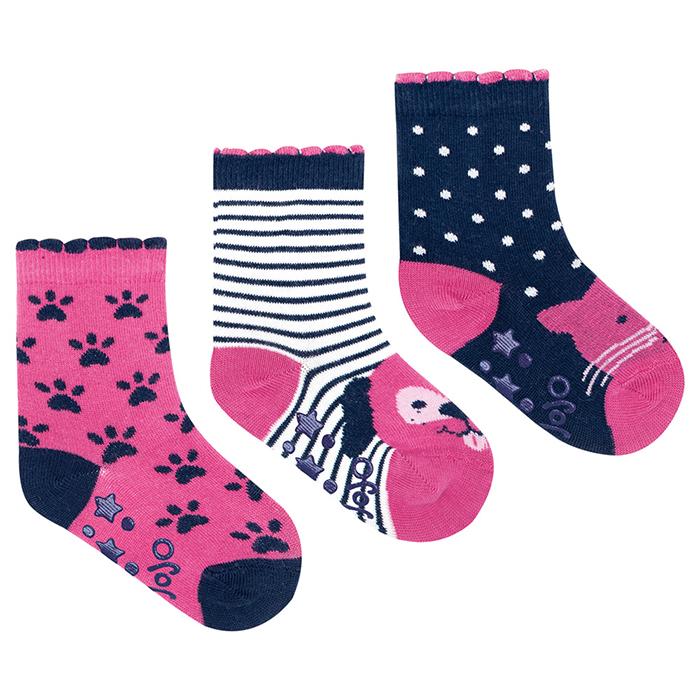 英國 JoJo Maman BeBe 柔細寶寶兒童短襪/棉襪 3入組_貓與狗(JJS3-009)