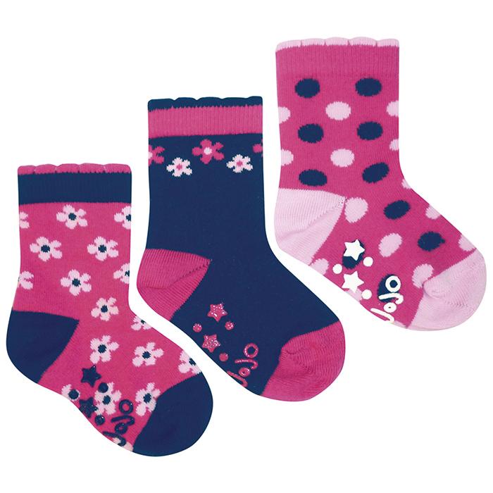 英國 JoJo Maman BeBe 優質柔細寶寶兒童短襪/棉襪 3入組_小花點點(JJS3-011)