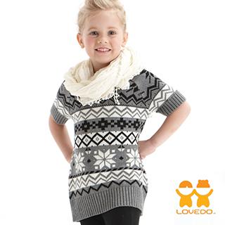 【LOVEDO-艾唯多童裝】北歐圖騰 長板針織短袖毛衣(灰)