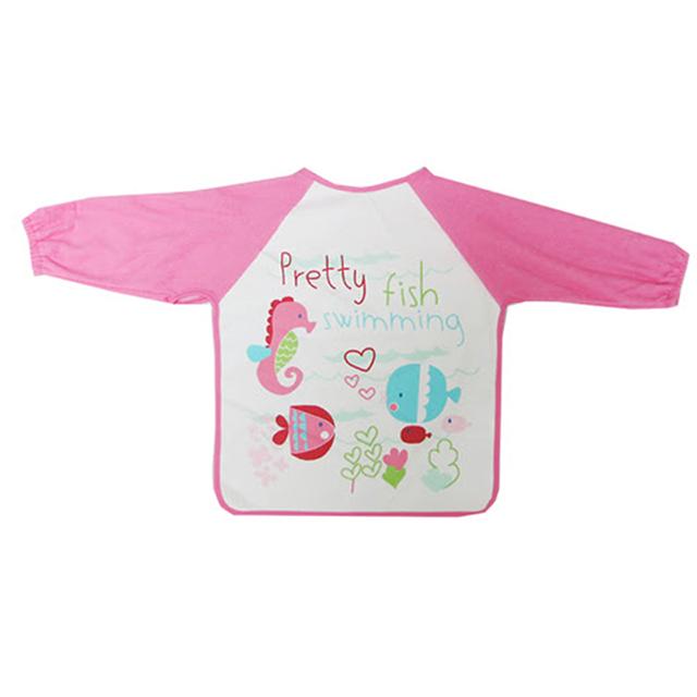 美國 luvable friends 嬰幼兒長袖防水圍兜/畫畫衣單入組_熱帶魚(LF55001-3)