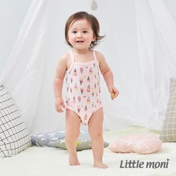 Little moni 家居系列細肩帶包屁衣-粉紅
