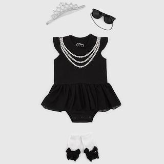 日安朵朵 女嬰經典禮盒–奧黛莉赫本 (MIT台灣製連身衣+襪子+太陽眼鏡)