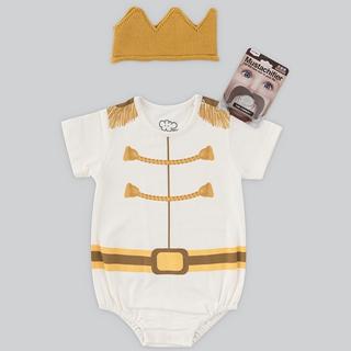 日安朵朵 男嬰經典禮盒 - 白馬王子 (MIT台灣製連身衣+皇冠帽+鬍子奶嘴)