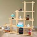 極簡風 黃松木斜十格架 實木置物架書架