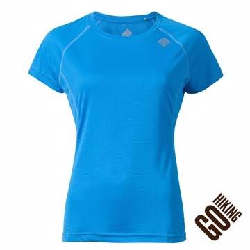 【GoHiking】女超輕量吸濕快乾短袖圓領上衣-灰藍